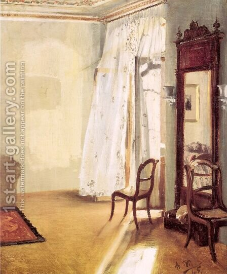 The French Window 1845 by Adolph von Menzel - Reproduction Oil Painting