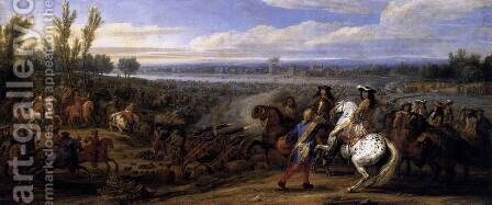 Crossing the Rhine 1672 by Adam Frans van der Meulen - Reproduction Oil Painting