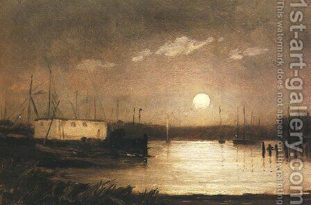 Moon over a Harbor by Edward Mitchell Bannister - Reproduction Oil Painting