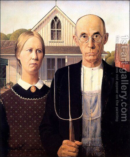 American Gothic by Grant Wood - Reproduction Oil Painting