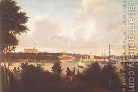 Panorama of Sydney Harbour with Government House and Fort Macquarie from Mrs Macquarie's Chair by Jacob Janssen - Reproduction Oil Painting