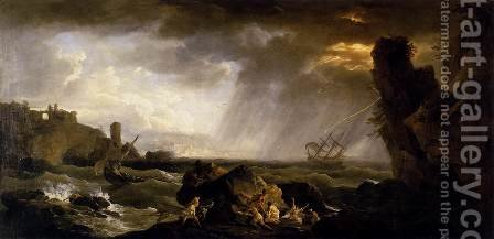 Seascape- Tempest 1735-40 by Claude-joseph Vernet - Reproduction Oil Painting