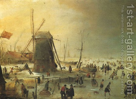 Winter Scene with Skaters by a Windmill by Hendrick Avercamp - Reproduction Oil Painting