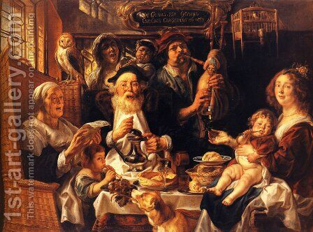 As the Old Sing, So the Young Pipe by Jacob Jordaens - Reproduction Oil Painting