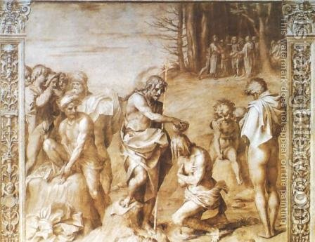 Life of John the Baptist: the Baptism of Christ by Andrea Del Sarto - Reproduction Oil Painting