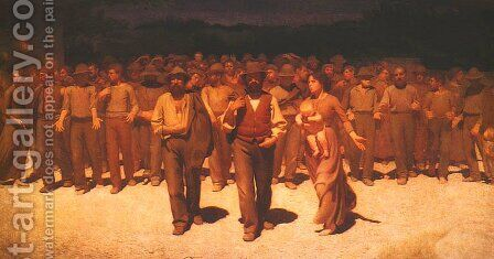 Fourth Estate (Il Quarto Stato) or Proletariat by Giuseppe Pellizza da Volpedo - Reproduction Oil Painting