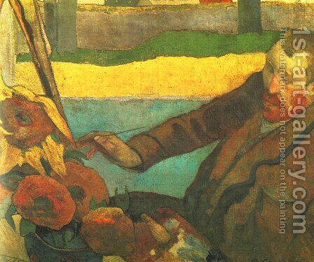 Vincent van Gogh Painting Sun Flowers by Paul Gauguin - Reproduction Oil Painting