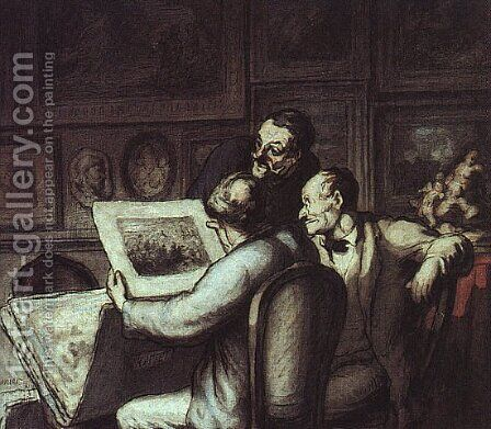 Print Collectors by Honoré Daumier - Reproduction Oil Painting