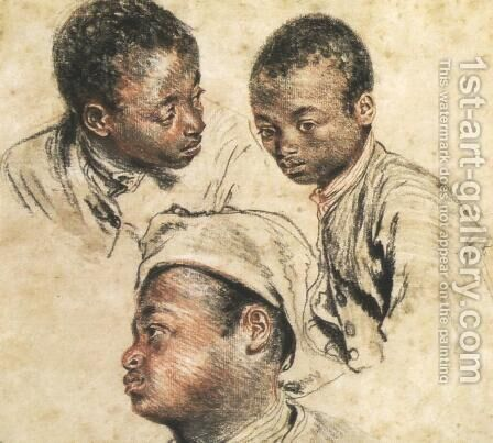 Three Studies of the Head of a Young Negro by Jean-Antoine Watteau - Reproduction Oil Painting