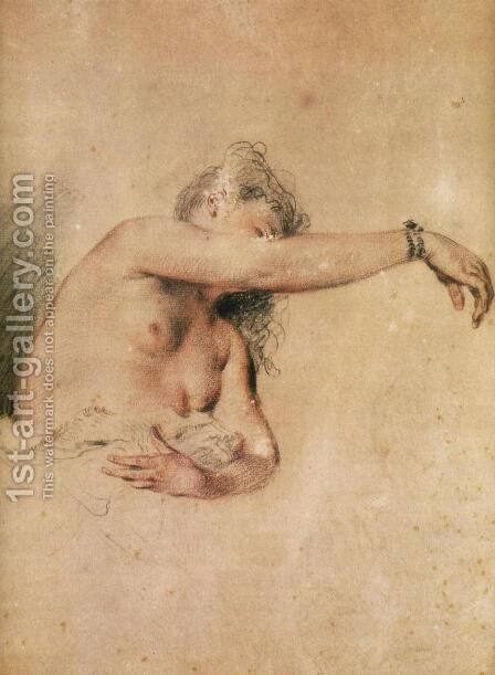 Female Nude with Right Arm Raised by Jean-Antoine Watteau - Reproduction Oil Painting