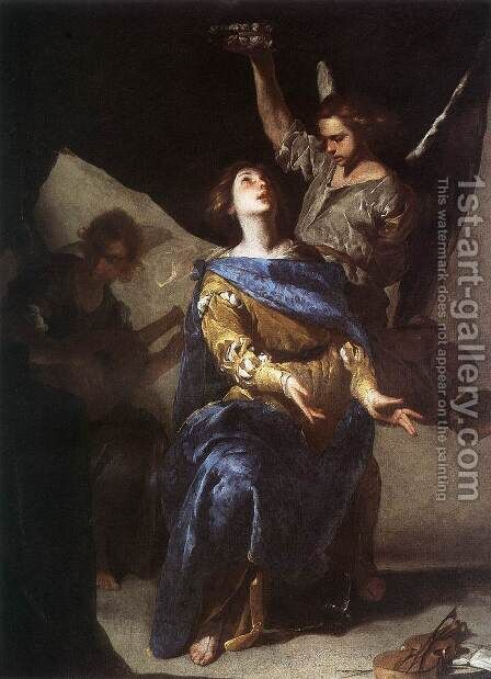 Ecstasy of St. Cecilia (Estasi di santa Cecilia) by Bernardo Cavallino - Reproduction Oil Painting