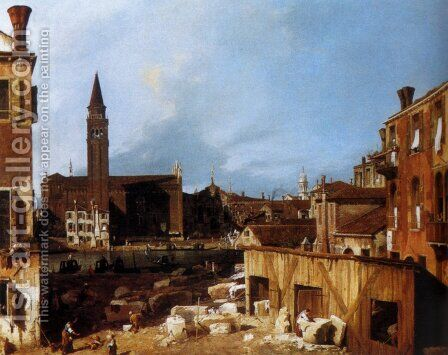 Stonemason's Yard at San Vidal by (Giovanni Antonio Canal) Canaletto - Reproduction Oil Painting
