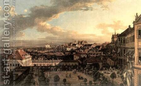 View of Warsaw from the Terrace of the Royal Castle in Warsaw by Bernardo Bellotto (Canaletto) - Reproduction Oil Painting