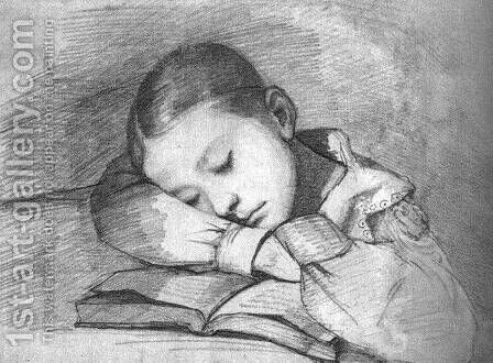 Portrait of Juliette Courbet as a Sleeping Child by Gustave Courbet - Reproduction Oil Painting