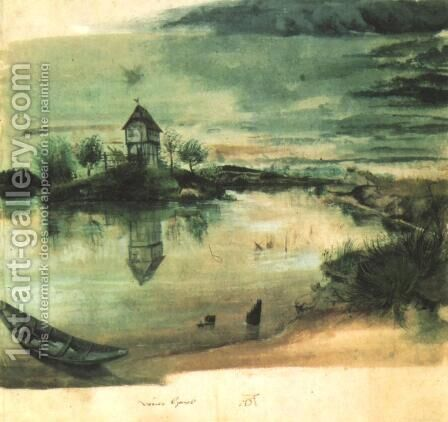 House on an Island in a Pond by Albrecht Durer - Reproduction Oil Painting