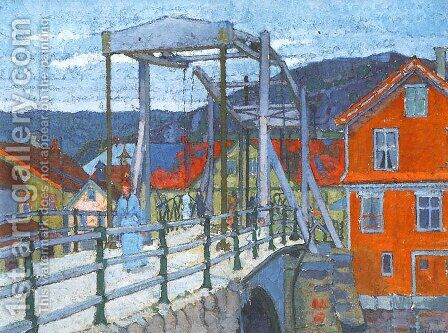 Canal Bridge, Flekkefjord by Harold Gilman - Reproduction Oil Painting