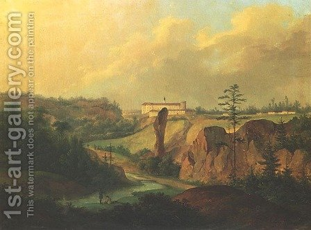 View of Ojcow - Pieskowa Skala Castle by Antoni Lange - Reproduction Oil Painting