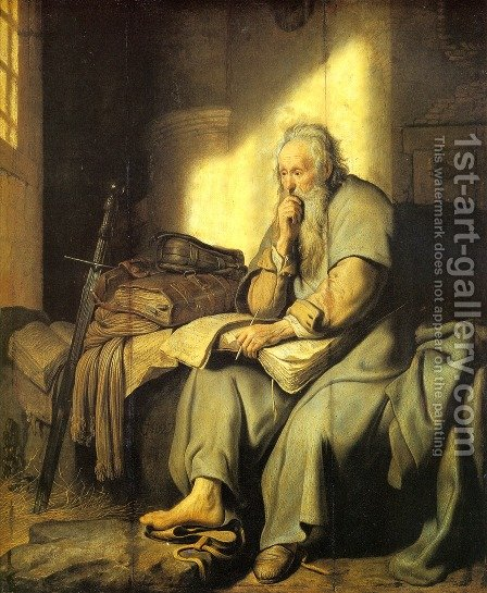 Apostle Paul in Prison by Rembrandt - Reproduction Oil Painting