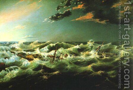 Admelia Wrecked, Cape Banks, 6th August 1859 by James Shaw - Reproduction Oil Painting