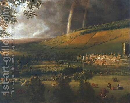 Landscape with Rainbow, Henley-on-Thames c. 1690 by Jan Siberechts - Reproduction Oil Painting