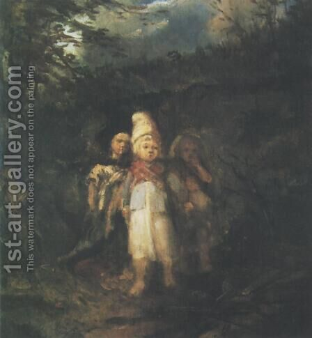 Children in a Forest by Aleksander Kotsis - Reproduction Oil Painting