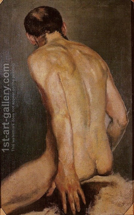 Nude Male Study by Jacek Malczewski - Reproduction Oil Painting