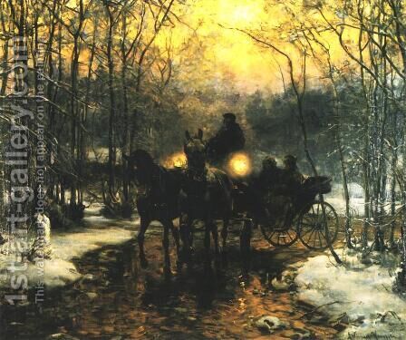 Journey in a Carriage by Alfred Wierusz-Kowalski - Reproduction Oil Painting