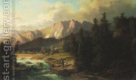 View of Tatra Mountains by Alfred Schouppe - Reproduction Oil Painting