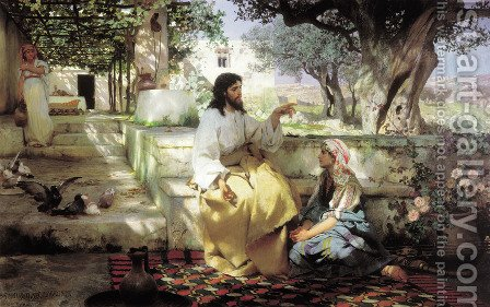 Christ in the House of Martha and Mary by Henryk Hector Siemiradzki - Reproduction Oil Painting