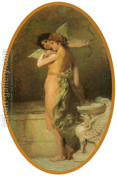 Eros and Psyche by Henryk Hector Siemiradzki - Reproduction Oil Painting