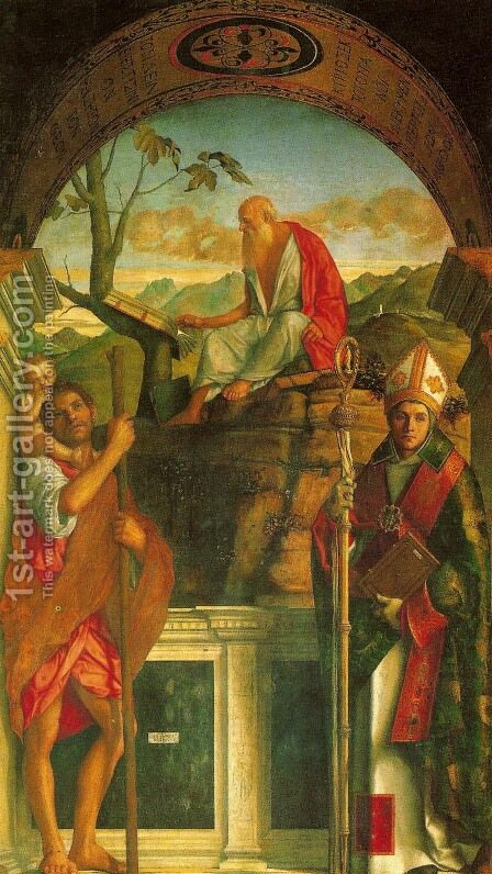 St. Christopher, St. Jerome, and St. Louis (I santi Cristoforo, Gerolamo e Ludovico) by Giovanni Bellini - Reproduction Oil Painting