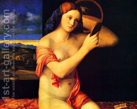 Young Woman Holding a Mirror (Giovane alla Specchio) by Giovanni Bellini - Reproduction Oil Painting