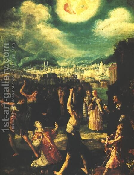 Stoning of St. Stephen by Bartlomiej Strobel - Reproduction Oil Painting