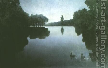 Pond at Night by Henryk Piatkowski - Reproduction Oil Painting