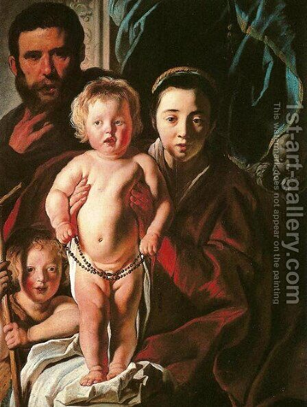 Holy Family and Saint John the Baptist by Jacob Jordaens - Reproduction Oil Painting