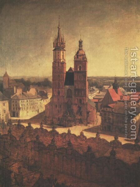 View of the St. Mary's Church from the Town Hall Tower in Cracow by Jan Matejko - Reproduction Oil Painting