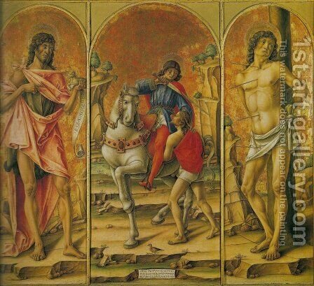 St. Martin Triptych (St. John the Baptist, St. Martin and the Poor Man, and St. Sebastian) Trittico di san Martino (San Giovanni Battista, san Martino e il povero e san Sebastiano) by Bartolomeo Vivarini - Reproduction Oil Painting