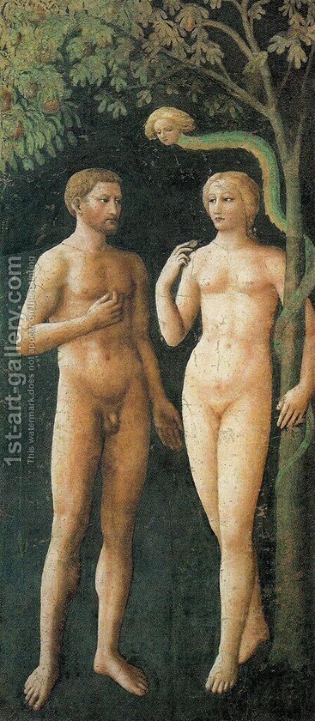 Adam and Eve in Eden (Adamo e Eva nell'Eden) by Masaccio (Tommaso di Giovanni) - Reproduction Oil Painting