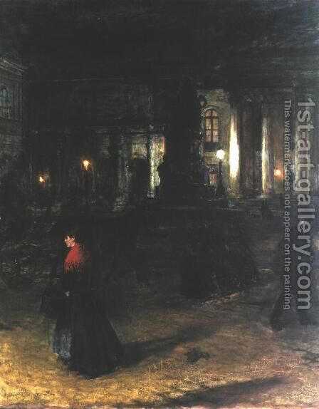 Maximilianplatz in Munich at Night by Aleksander Gierymski - Reproduction Oil Painting