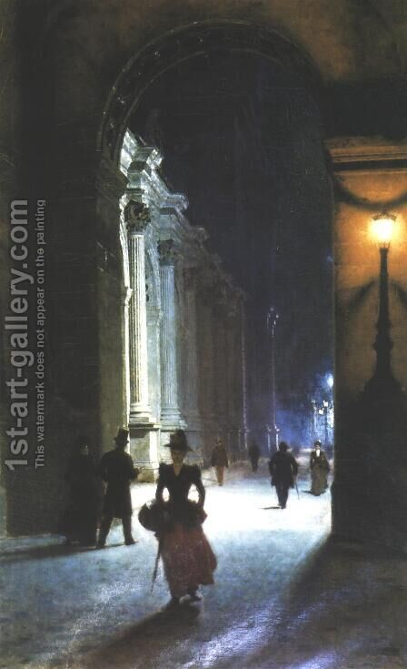 Louvre at Night by Aleksander Gierymski - Reproduction Oil Painting