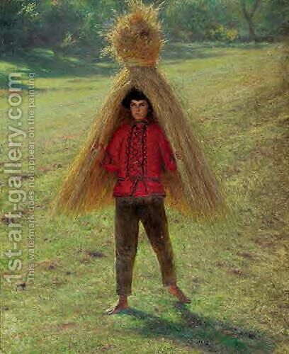 Boy Carrying a Sheaf by Aleksander Gierymski - Reproduction Oil Painting