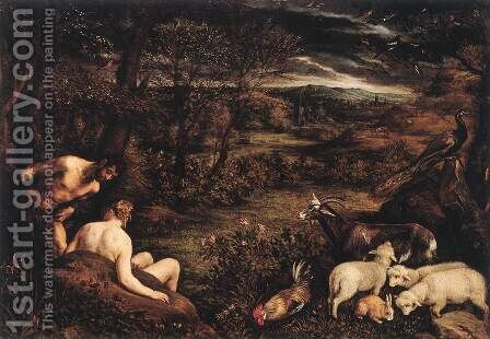 Earthly Paradise (Il Paradiso terrestre) by Jacopo Bassano (Jacopo da Ponte) - Reproduction Oil Painting