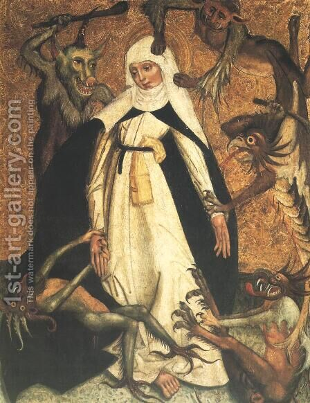 St. Catherine of Siena Besieged by Demons by - Unknown Painter - Reproduction Oil Painting