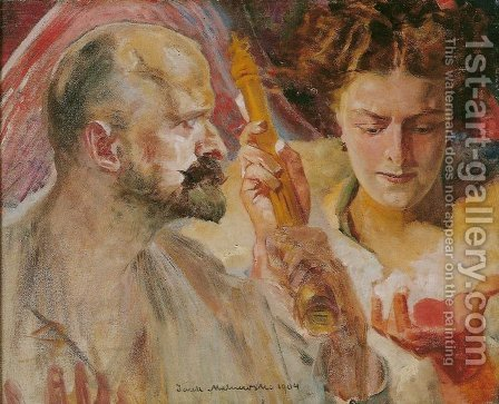 Self-Portrait with Muse Holding Sceptre and Orb by Jacek Malczewski - Reproduction Oil Painting