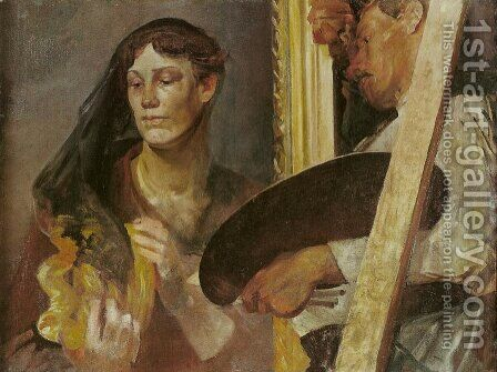 In Front of the Model by Jacek Malczewski - Reproduction Oil Painting