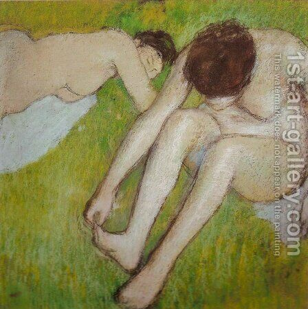 Two Bathers on the Grass by Edgar Degas - Reproduction Oil Painting