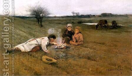 In the field by Apoloniusz Kedzierski - Reproduction Oil Painting