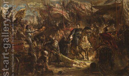King John III Sobieski Presenting Canon Denhoff with a Letter to the Pope by Jan Matejko - Reproduction Oil Painting