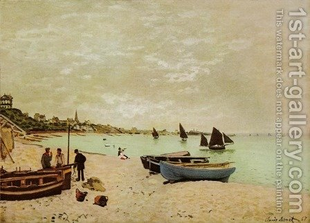 Beach at Sainte-Adresse by Claude Oscar Monet - Reproduction Oil Painting