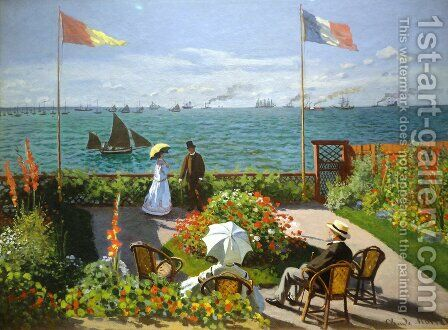 Terrace at the Seaside, Sainte-Adresse by Claude Oscar Monet - Reproduction Oil Painting